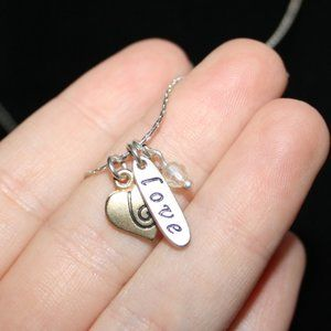 Pretty silver and gold LOVE necklace adjustable
